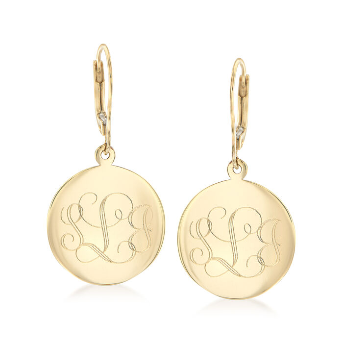 14kt Yellow Gold Personalized Disc Drop Earrings, , default