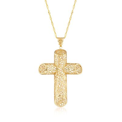 Italian 18kt Yellow Gold Brushed and Polished Angled Filigree Cross Pendant Necklace, , default