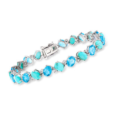 Turquoise and 16.40 ct. t.w. Sky Blue and White Topaz Bracelet in Sterling Silver