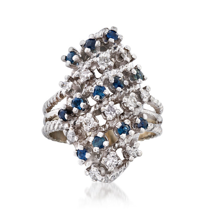 C. 1980 Vintage .60 ct. t.w. Sapphire and .40 ct. t.w. Diamond Multi-Row Ring in 18kt White Gold. Size 6, , default