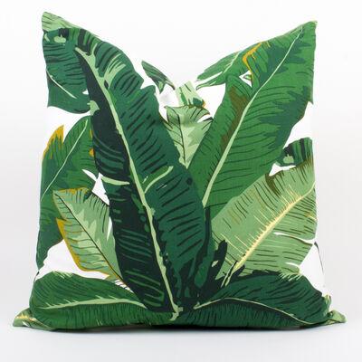 Set of 2 Leaf Print Throw Pillows, , default