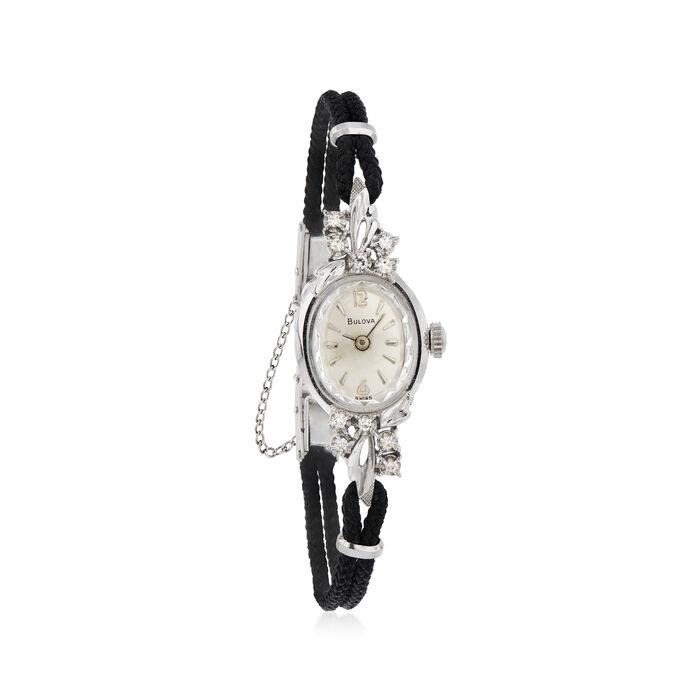 C. 1950 Vintage Bulova Women's 14mm Watch with .10 ct. t.w. Diamonds in 14kt White Gold. Size 6, , default