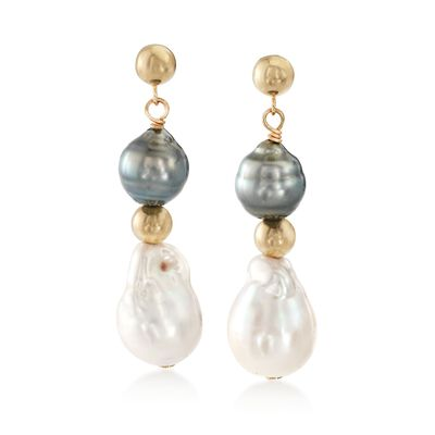 8-11mm Cultured Tahitian and Baroque Pearl Drop Earrings, , default