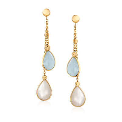 Italian Mother-Of-Pearl and Aquamarine Drop Earrings in 14kt Yellow Gold, , default