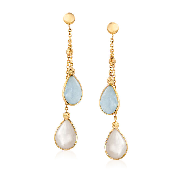 Italian Mother-Of-Pearl and Aquamarine Drop Earrings in 14kt Yellow Gold