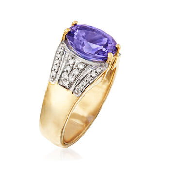 2.60 Carat Tanzanite and .23 ct. t.w. Diamond Ring in 14kt Yellow Gold, , default