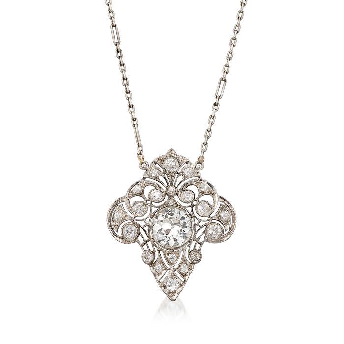 "C. 1950 Vintage 3.05 ct. t.w. Diamond Necklace in Platinum. 18"", , default"