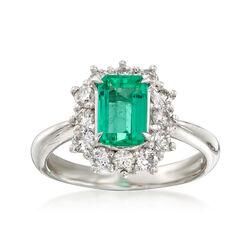 C. 1990 Vintage 1.09 Carat Emerald and .73 ct. t.w. Diamond Ring in Platinum, , default