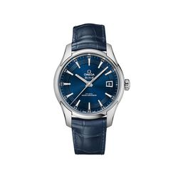 Omega De Ville Prestige Orbis Men's 41mm Stainless Steel Watch in Blue Leather Strap and Dial , , default