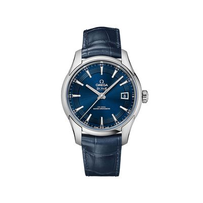 Omega De Ville Prestige Orbis Men's 41mm Stainless Steel Watch in Blue Leather Strap and Dial, , default
