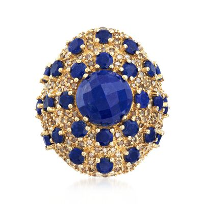 Lapis and 1.60 ct. t.w. Champagne Diamond Ring in 18kt Gold Over Sterling , , default