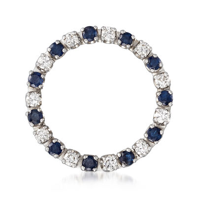 C. 1980 Vintage .65 ct. t.w. Diamond and .90 ct. t.w. Sapphire Open-Circle Pin in 14kt White Gold, , default