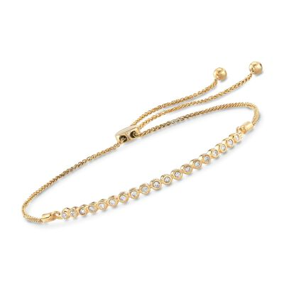.33 ct. t.w. Bezel-Set Diamond Bolo Bracelet in 18kt Gold Over Sterling, , default