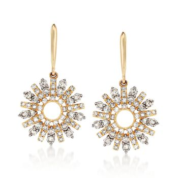 .80 ct. t.w. Diamond Start Burst Drop Earrings in 14kt Yellow Gold, , default