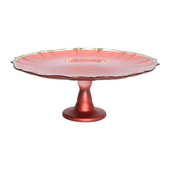 """Vietri """"Baroque"""" Red Glass Cake Stand, , default"""