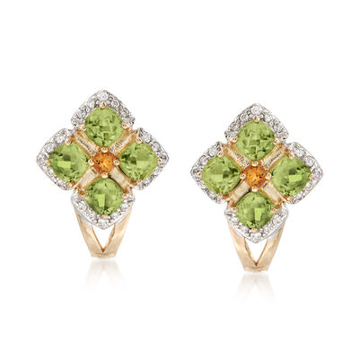 1.20 ct. t.w. Peridot and .13 ct. t.w. Diamond Earrings with Citrine Accents in 14kt Yellow Gold, , default
