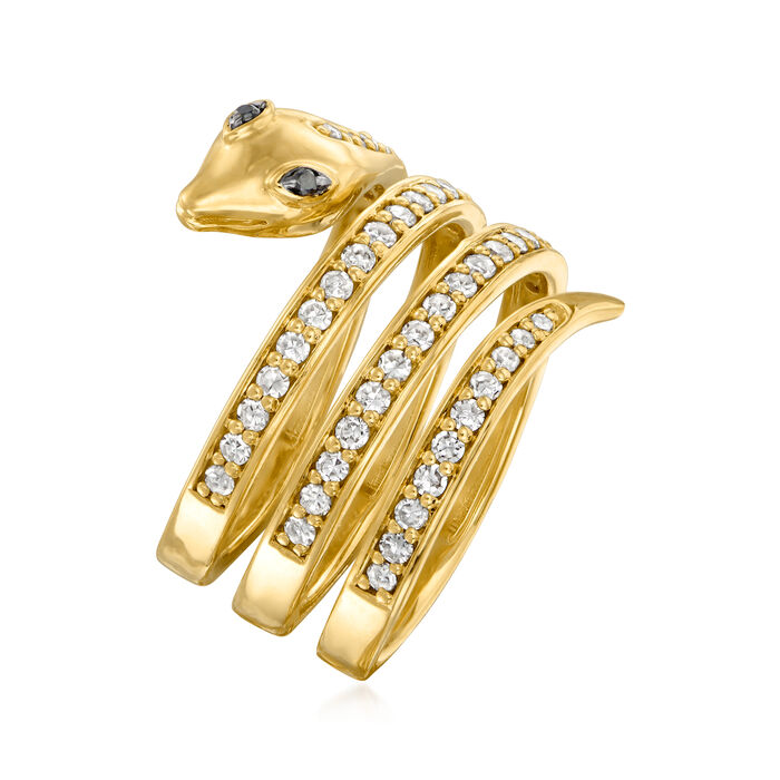 .71 ct. t.w. Diamond Snake Wrap Ring with Black Diamond Accents in 18kt Gold Over Sterling