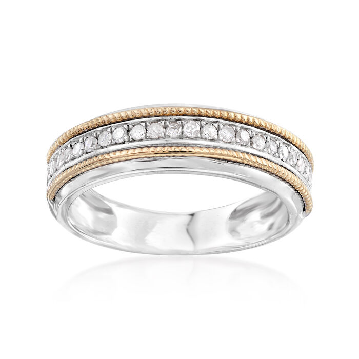 .25 ct. t.w. Diamond Two-Tone Ring in Sterling and 14kt Yellow Gold, , default