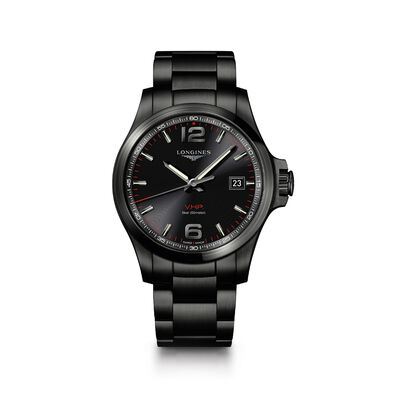 Longines Conquest V.H.P. Men's 43mm PVD Over Stainless Steel Watch - Black Dial, , default