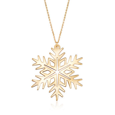 14kt Yellow Gold Large Snowflake Drop Necklace, , default