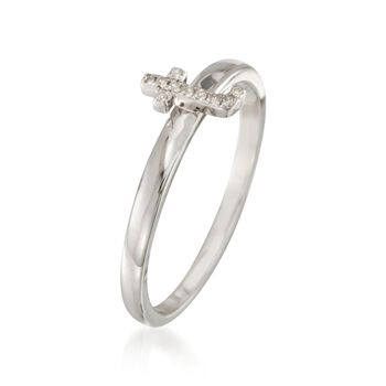 "Diamond Accent Mini Initial ""T"" Ring in Sterling Silver"