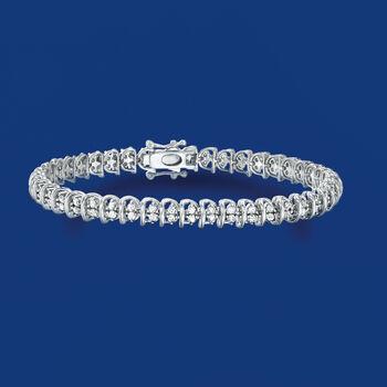 2.00 ct. t.w. Diamond Swirl-Link Tennis Bracelet in Sterling Silver, , default