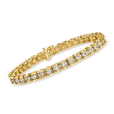 2.00 ct. t.w. Diamond Cluster Tennis Bracelet in 18kt Gold Over Sterling