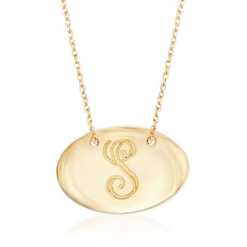 14kt Yellow Gold Personalized Oval Disc Necklace, , default