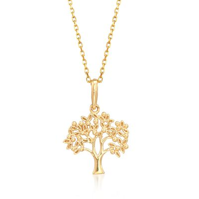 18kt Yellow Gold Tree Pendant Necklace, , default