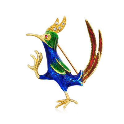 C. 1960 Vintage Multicolored Enamel Rooster Pin with Diamond and Ruby Accents in 14kt Yellow Gold, , default