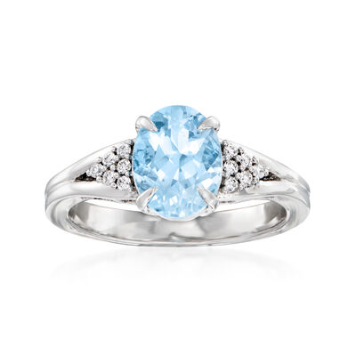 C. 1990 Vintage 2.00 Carat Aquamarine and .15 ct. t.w. Diamond Ring in 18kt White Gold