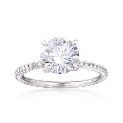 1.90 Carat Synthetic Moissanite Solitaire and .11 ct. t.w. Diamond Engagement Ring in 14kt White Gold, , default