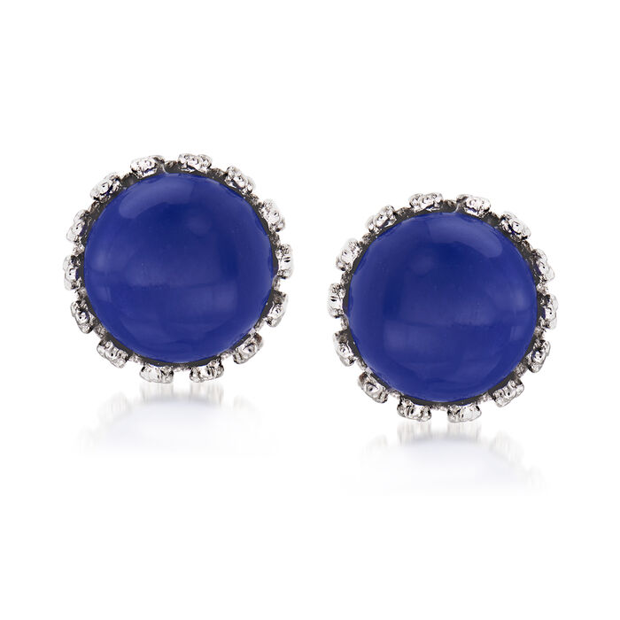 Lapis Round Stud Earrings in Sterling Silver