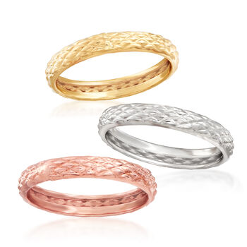 18kt Tri-Colored Gold Jewelry Set: Three Quilted Textured Rings, , default