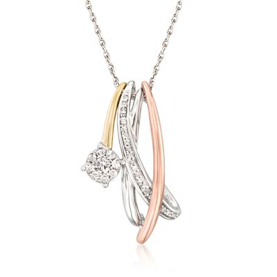 .25 ct. t.w. Diamond Crisscross Necklace in Sterling Silver and 14kt Two-Tone Gold, , default