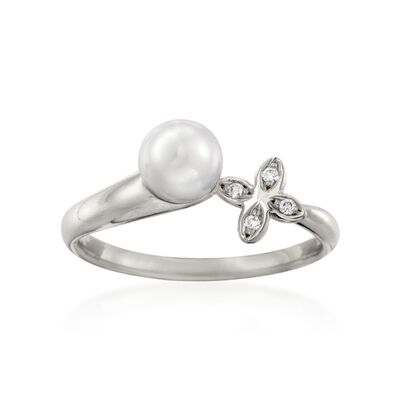 Mikimoto 6mm A+ Akoya Pearl Floral Ring with Diamond Accents in 18kt White Gold, , default