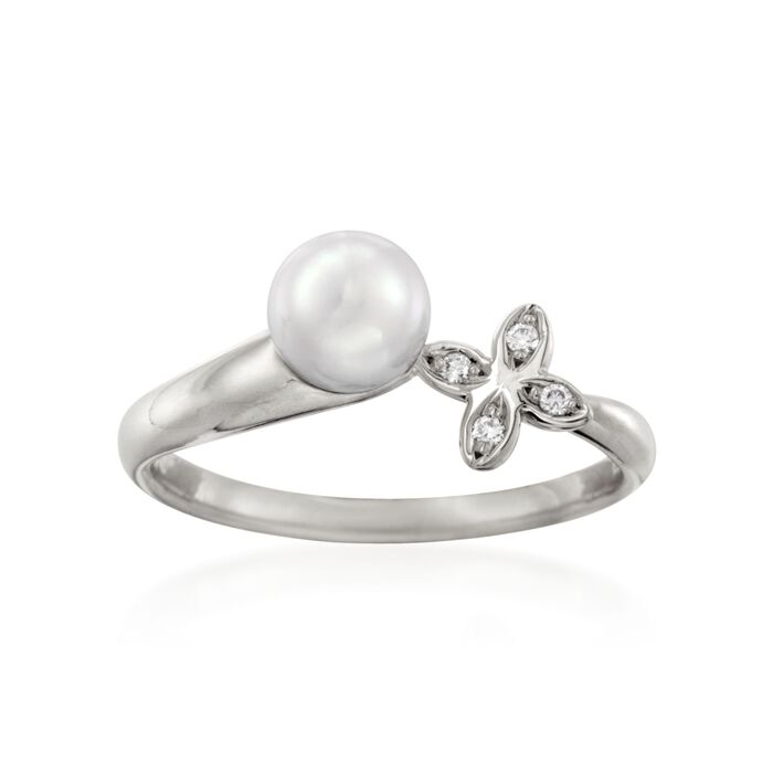 Mikimoto 6mm A+ Akoya Pearl Floral Ring with Diamond Accents in 18kt White Gold