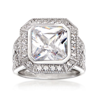 5.80 ct. t.w. CZ Frame Ring in Sterling Silver