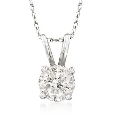 .75 Carat Diamond Solitaire Necklace in 14kt White Gold, , default