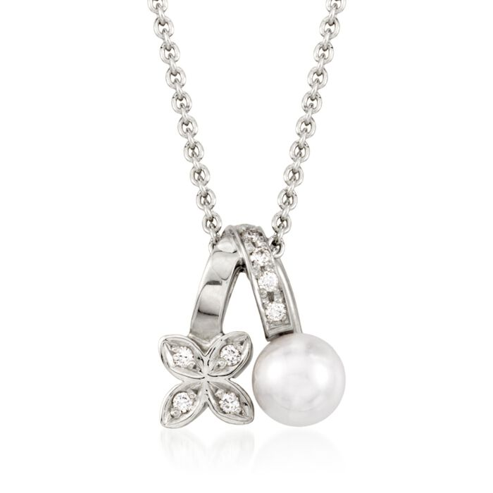 """Mikimoto 5.5mm A+ Akoya Pearl Floral Pendant Necklace with Diamond Accents in 18kt White Gold. 18"""", , default"""