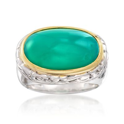 Green Chalcedony Ring in Two-Tone Sterling Silver, , default