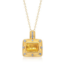 C. 1980 Vintage 32.70 Carat Citrine and 3.30 ct. t.w. Sapphire Pendant Necklace in 18kt Yellow Gold, , default