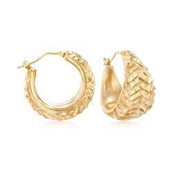"Italian Andiamo 14kt Yellow Gold Hoop Earrings. 1"", , default"