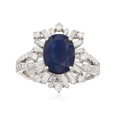 2.75 Carat Sapphire and .98 ct. t.w. Diamond Ring in 18kt White Gold, , default