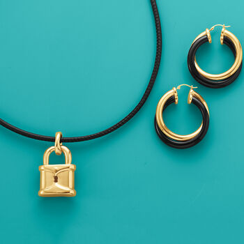 """Andiamo 14kt Yellow Gold and Black Onyx Hoop Earrings. 1 1/2"""", , default"""