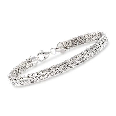 Sterling Silver Medium Wheat Chain Bracelet, , default