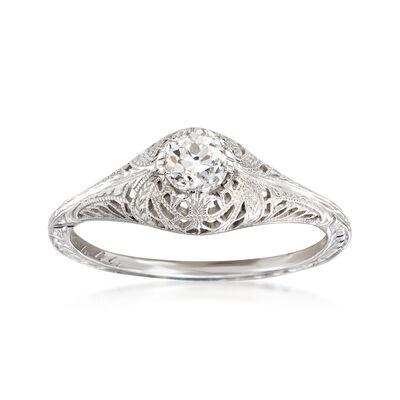 C. 1950 Vintage .40 Carat Diamond Milgrain Ring in 18kt White Gold, , default