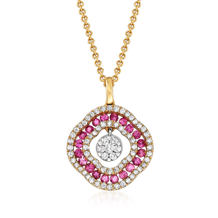 C. 1990 Vintage Giantti .40 ct. t.w. Pink Sapphire and .35 ct. t.w. Diamond Pendant Necklace in 18kt Yellow Gold. 157, , default