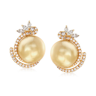 12-12.5mm Golden Cultured South Sea Pearl and .76 ct. t.w. Diamond Earrings with Brown Diamond Accents in 18kt Yellow Gold