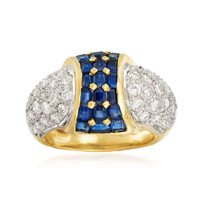 C. 1980 Vintage 2.32 ct. t.w. Sapphire and 1.41 ct. t.w. Pave Diamond Ring in 18kt Yellow Gold, , default